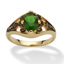 Birthstone 14k Gold-Plated Filigree Ring-May-Simulated Emerald - $27.94