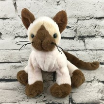 Ganz Webkinz Siamese Cat Plush Brown Cream Sitting Stuffed Animal Soft Toy - $9.89