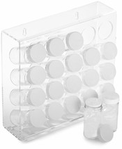 Transparent Kitchen Storage Spice Rack w/ 20 Glass Jars Bottles Wall Mou... - $69.62