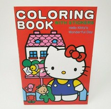 Vintage 1995 Sanrio Hello Kitty Stationary Coloring Book W/ Clock Stickers - $26.65