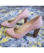 NEW MK Michael Kors Shoes Mauve Pink Suede Pumps Scale Texture Wood Heel... - $57.02