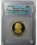 2007-S ICG Proof 70 DCAM John Adams Presidential Dollar~ELITE SET~Free S... - $21.06