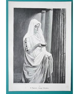 LOVELY MAIDEN Young Christian in Temple Flame Tray - VICTORIAN Era Print - $10.80