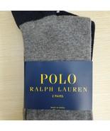 Grey Blue 2Pairs Designer Mens POLO Ralph Lauren Macy's Dress Socks  - $18.69