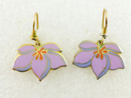 "LAUREL BURCH ""Pear Blossom"" Purple Enamel Gold-Tone Drop Dangle Hook EAR... - $25.00"