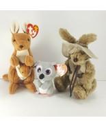 TY Beanie Babies Pouch Tan Kangaroo Baby Joey Hogan w/ Hat Mel Koala Lot... - $15.14