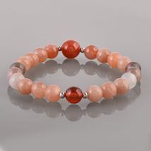 Safe Travel, Business- Multi Moonstone & Red Onyx Gemstone Bead Stretch ... - $25.99
