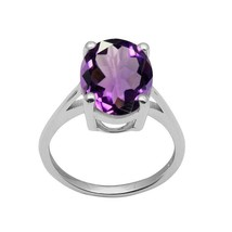 925 Sterling Silver 6.0 Carat Oval Cut Amethyst Gemstone Solitaire Ring - $34.46