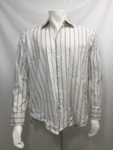 Button Down Dress Shirt Long Sleeve 100% Cotton Stripe Alfani Texture Me... - $19.60