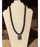 Recycled Porcelain & Bead Jewelry, Teal Specked w/ Matte & Shiny Black N... - $49.50