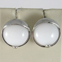 EARRINGS SILVER 925 RHODIUM WITH AGATE WHITE ROUND BRIGHT BUTTON image 1