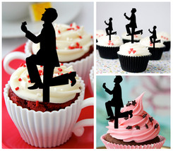 Decorations Wedding,Birthday Cupcake topper,silhouette marry me Package : 10 pcs - $10.00