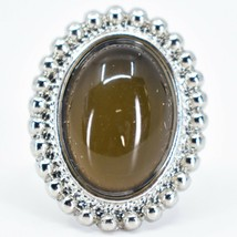 Beaded Edge Silver Tone Oval Cabochon Color Changing Adjustable Mood Ring