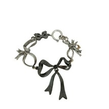 Juicy Couture Womens Girl Bow Bracelet Multiple Metal Bows Silver Jewelr... - $22.43