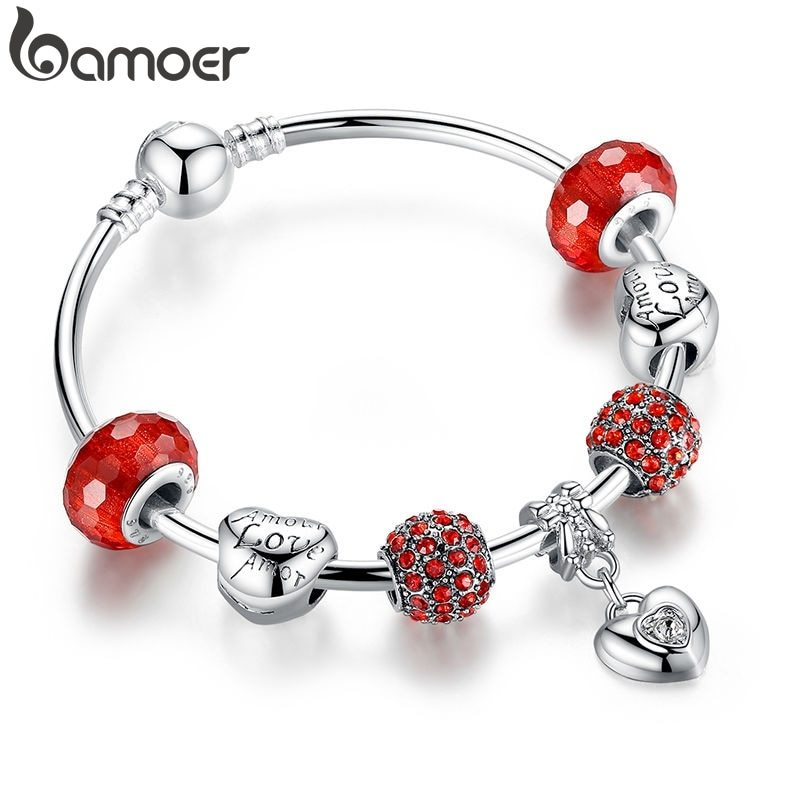 Primary image for Silver Charm Bracelet & Bangle with Heart Pendant & Red Crystal Ball LOVE Charm