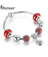 Silver Charm Bracelet & Bangle with Heart Pendant & Red Crystal Ball LOV... - $10.52