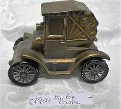 Vintage Banthrico Diecast Brass Car Coin Bank ~ 1900 Pill Box Coupe - $8.90