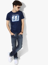 Nwt Jeans Men's Navy Pepe Graphic Slim Fit Round Neck Polycotton T-shirt Men Cot image 4