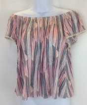 LUSH Womens Olive-Red Off-Shoulder Blouse XL - $20.57