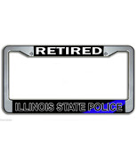RETIRED ILLINOIS STATE POLICE METAL LICENSE PLATE FRAME MADE IN USA  - $27.07