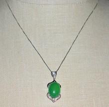 VTG Sterling Silver .925 Italy Green Glass Cabochon Clear CZ Rhinestone ... - $39.60