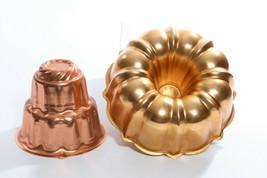 Copper Cake Jello Molds 2 Piece Lot Bundt Mold & 3 Tier Home Decor - $29.14