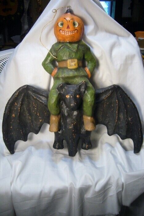Bethany Lowe Pumpkin Head on Bat Wall Hanging