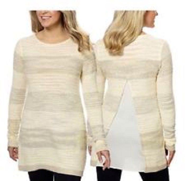 Calvin Klein Jeans Ladies' Long Sleeve Tunic – White Swan Stripe, Size M.
