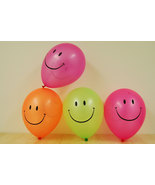25 Pack Neon Assorted 11 inch Smiley Face Blacklight Reactive Latex Ball... - $11.95