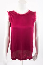 Massimo Dutti Womens Blouse Shirt Top Small Magenta Pink Sleeveless Lyoc... - $49.49