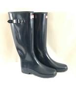 Hunter Womens Rain Boots Original Refined Gloss Navy Blue Rubber Size 9 - $96.74