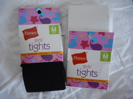Girls Hanes Footed Tights  2 Pair Size Medium  NEW 55-70 LBS.  Black & White - £7.19 GBP