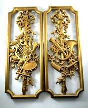 Vintage Gold Homco Wall Plaques Musical Set of 2 Rectangle - $24.75