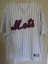 Vtg Russell Athletic New York Mets Premium Pin Stripe Button Sewn Jersey... - $45.46