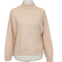 Talbots Sweater Large Womens Cable Knit Blush Pink Lambswool Angora Vint... - $34.64