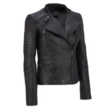 Asymmetrical Shoulder and Sleeve Genuine Lambskin Slim fit Leather Jacket - $149.00