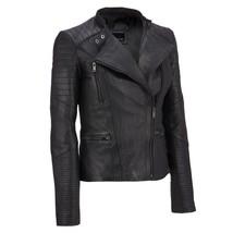 Asymmetrical Shoulder and Sleeve Genuine Lambskin Slim fit Leather Jacket - $149.00