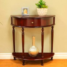 Half Moon Hall Entry Table With Storage Round Brown Coaster Storage Modern - $98.27