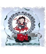 Betty Boop Gift Cut Glass Round Plaque Special Edition Betty Biker #1 - $31.44