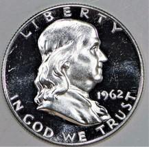 1962 Proof Franklin Half Dollar; Brilliant Choice Proof; Mild Cameo Obve... - $32.66