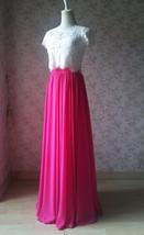 Fuchsia Hot Pink Full Chiffon Skirt Floor Length Summer Bridesmaid Chiffon Skirt image 7