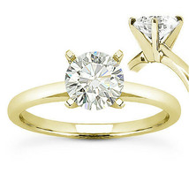 Round Brilliant Cut Moissanite 14k Yellow Gold 4-Prong Solitaire Engagement Ring - €444,27 EUR+