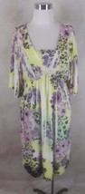 New Dress Matte Jersey Stretch XL Yellow Purple Floral by New Directions - $28.49