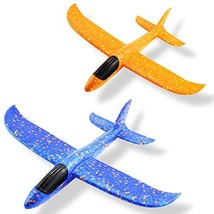 Weoxpr 2 Pack 35cm Soft Foam Airplane, Manual Throwing Inertial Plane Model for