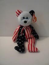 TY Beanie Babies Original Plush Patriotic Bear Spangle Blue Face MINT 1999 - $9.89