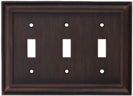 allen + roth Cosgrove 3-Gang Oil-Rubbed bronze Triple Toggle Wall Plate - $21.74