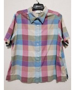 Fashion Bug Womens Blouse Size 22/24 Multicolor Top Short Sleeve Button ... - $17.46