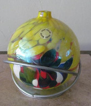 Hand Made Glass Art Ball Multi-Colored Designed Glass Oil Lamp with Base... - $35.99