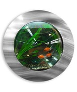 Fish Bubbles Brushed Aluminum Fish Bubble with Deluxe Wall Mounted Fish ... - $39.55