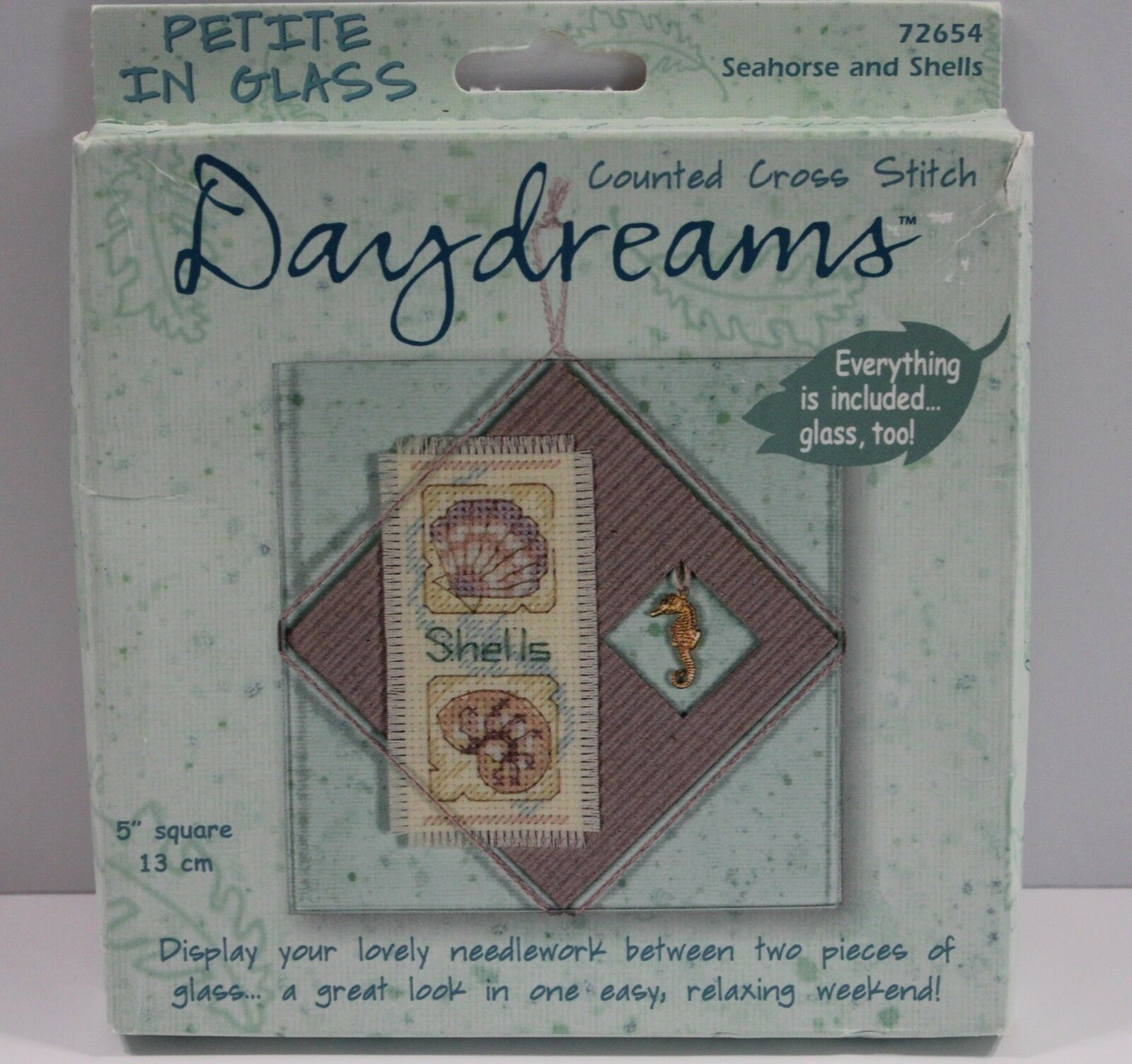 Primary image for Daydreams Counted Cross Stitch Seahorse and Shells Between Glass Kit